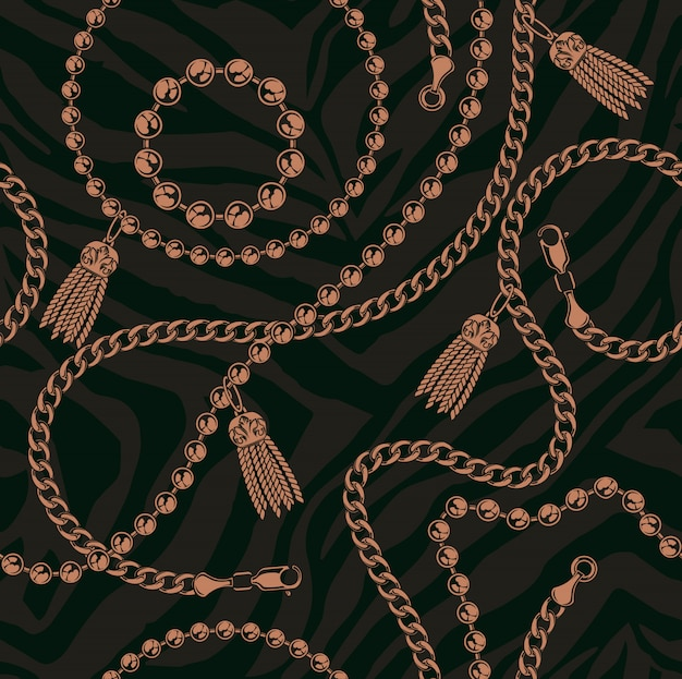 Coloured seamless pattern of chains on a dark background.