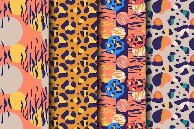 Coloured set of animal seamless prints