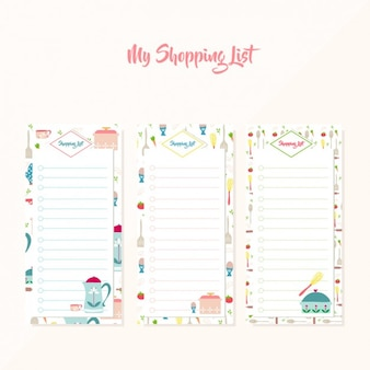 Coloured shopping lists collection