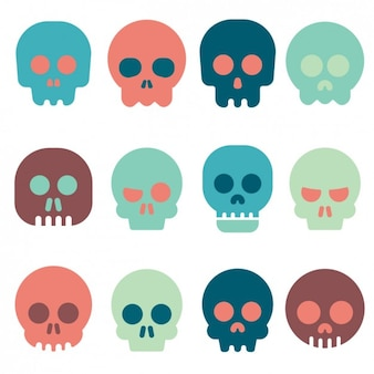Coloured skull icons collection