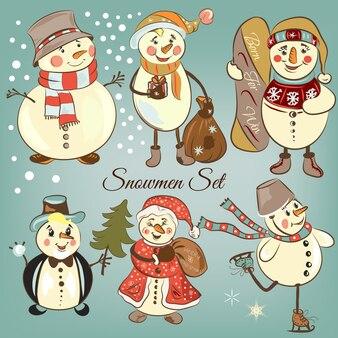 Coloured snowmen set