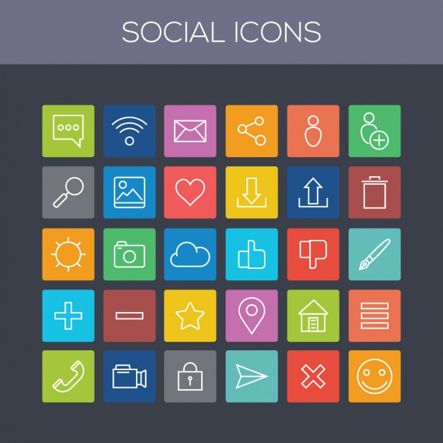 Coloured social icons collection
