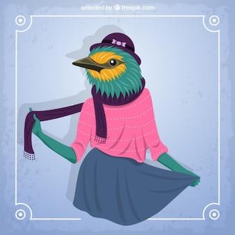 Coloured sparrow fashion model