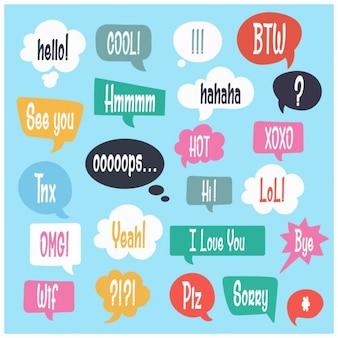 Красочные плоский речи пузыри набор с текстом