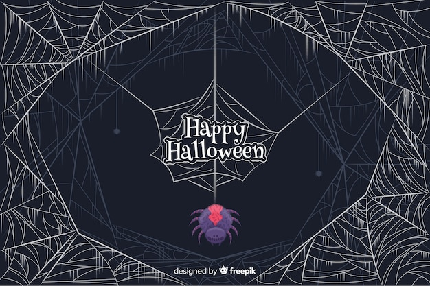 Coloured spider with cobwebs halloween background