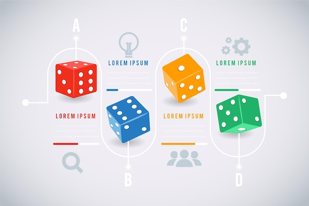 Coloured statistical dice infographic template