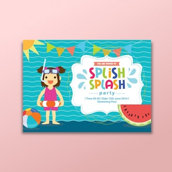 Coloured summer party invitation Free Vector