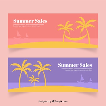 Coloured summer sales banners