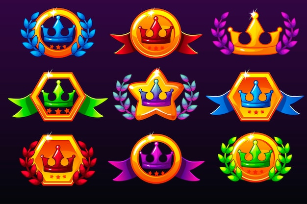 Coloured templates crown icons for awards, creating icons for mobile games.