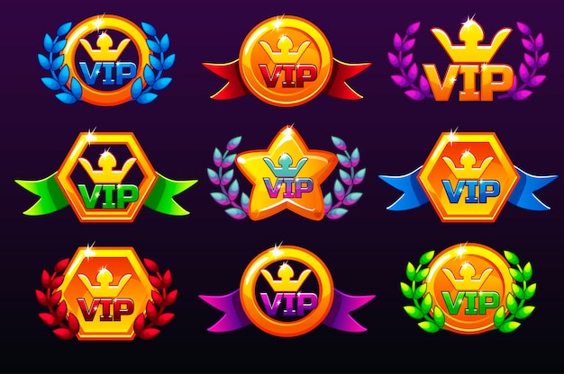 Coloured templates vip icons for awards, creating icons for mobile games.