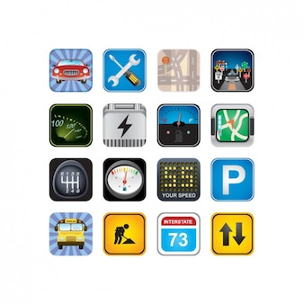 Coloured traffic icons collection