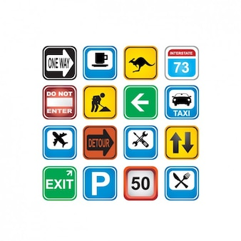 Coloured traffic signs icons collection
