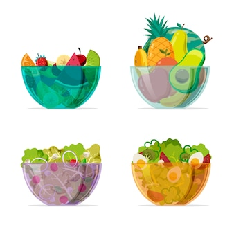 Coloured transparent bowls with salad
