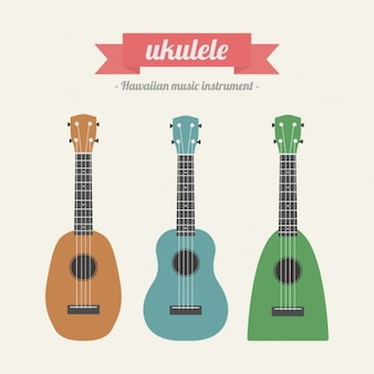 Coloured ukelele collection