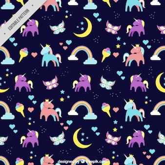 Coloured unicorns pattern