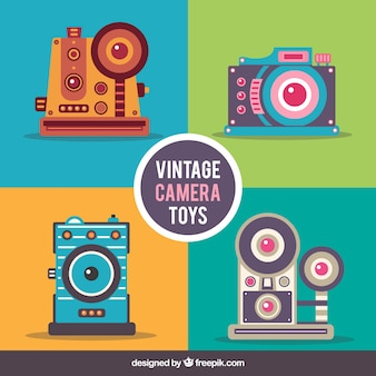 Coloured vintage camera collection
