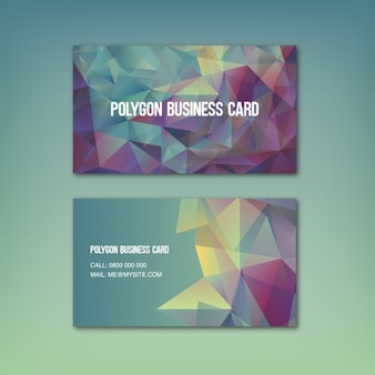 Coloured with polygonal shapes business card