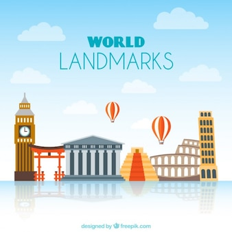 Coloured world important places background