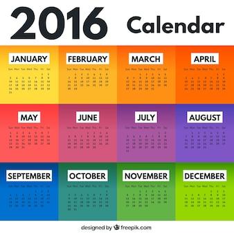 Colourful  2016 calendar