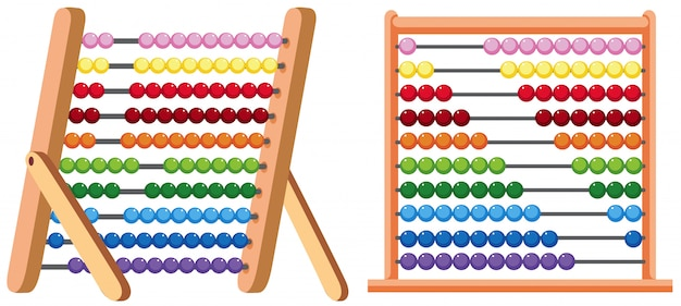 A colourful abacus on white background