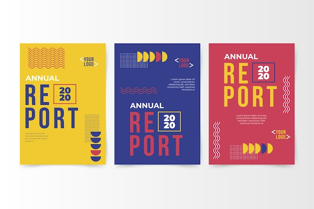 Colourful abstract annual report with memphis