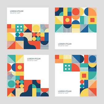 Colourful abstract geometric banner set in square format