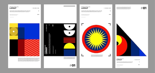 Colourful abstract geometric bauhaus and ethnic poster design template