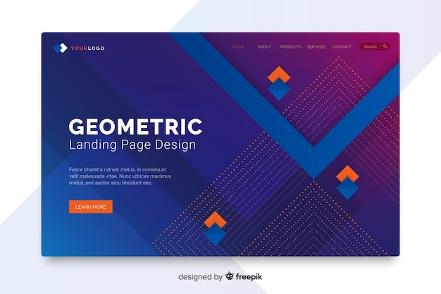 Colourful abstract geometric shapes landing page