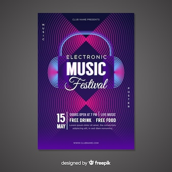 Colourful abstract music poster template