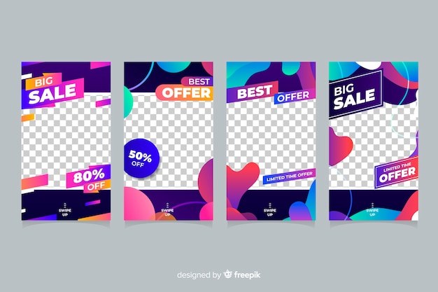Colourful abstract sale instagram stories with transparent background