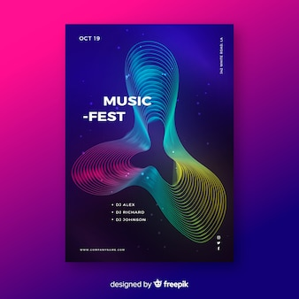 Colourful abstract waves music poster template