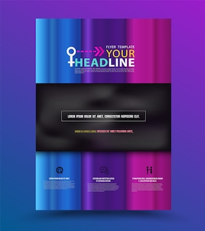 Colourful annual report brochure flyer design template.