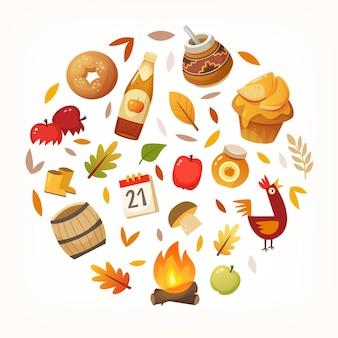 Красочные осенние элементы и еда расположены в круге векторные иллюстрации