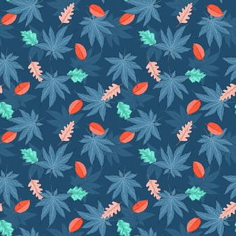 Colourful autumn leaves seamless pattern illustration in vector eps 10 with trendy colour palette