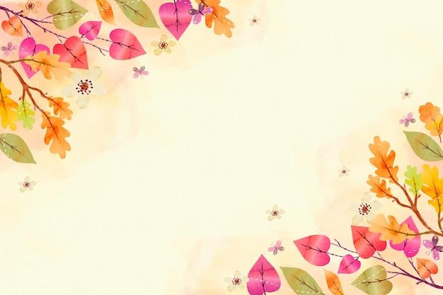 空のスペースでカラフルな秋の背景