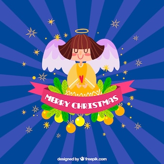 Colourful background with a christmas angel