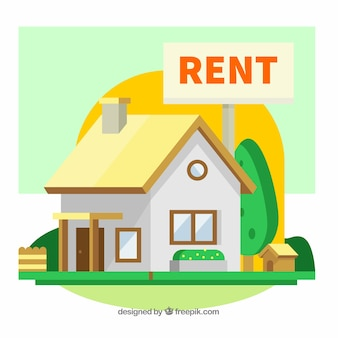Colourful background with a house for rent