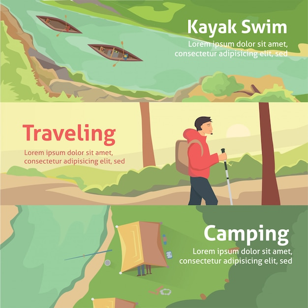 あなたのビジネス、webサイトなどのカラフルなバナーセット。最高の旅行やキャンプ、カヤック。孤立したベクトルイラスト。