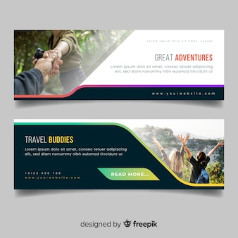 Красочные баннеры для путешествий, приключений с фото Premium векторы