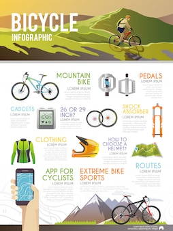 Colourful bicycle vector infographic.