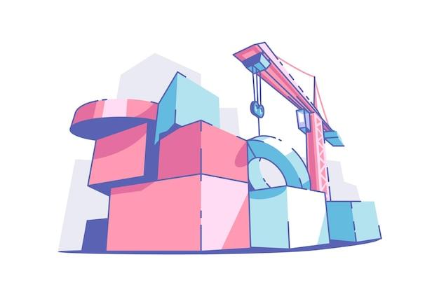 다채로운 큰 빌딩 블록 벡터 일러스트 레이 션 크레인 기계 사이트 플랫 스타일 건설 현장 및 혁신 개념 절연