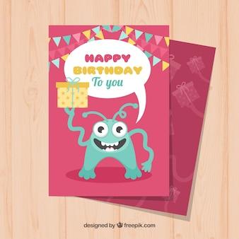 Colourful birthday card in flat design