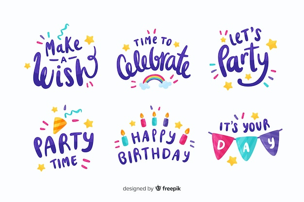 Colourful birthday stickers collection