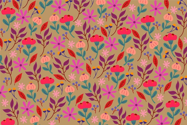 Colourful blossom ditsy floral background
