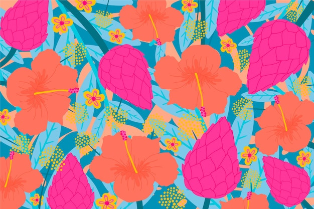 Colourful blossom tropical floral background