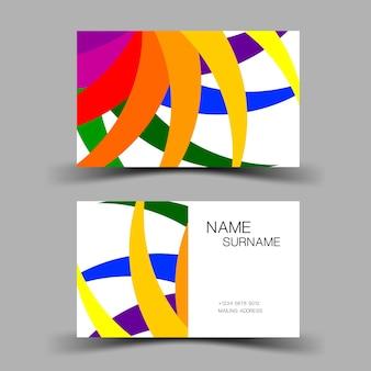 カラフルな名刺デザイン会社の連絡先カード両面ベクトルイラスト