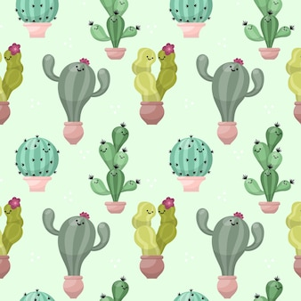 Colourful cactus pattern illustrated
