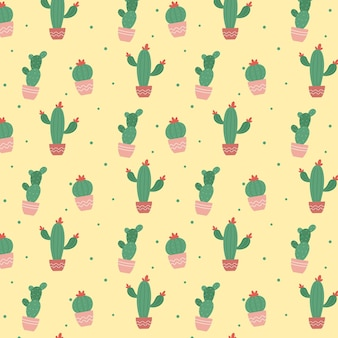 Colourful cactus plant pattern