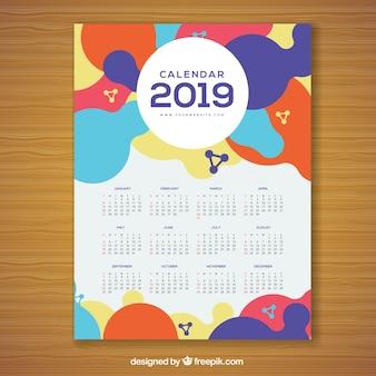 Colourful calendar for 2019