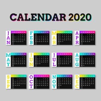 Colourful calendar for 2020 template